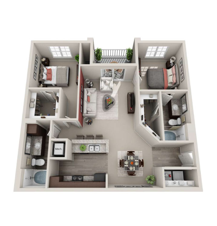 1 2 And 3 Bedroom Apartment Floorplans The Village At Westlake - 2-bedroom-apartment-floor-plans
